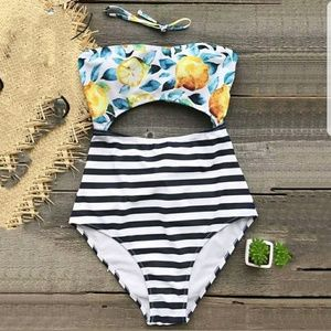 Preorder for $29!- Lemon Stripe one piece Swimsuit